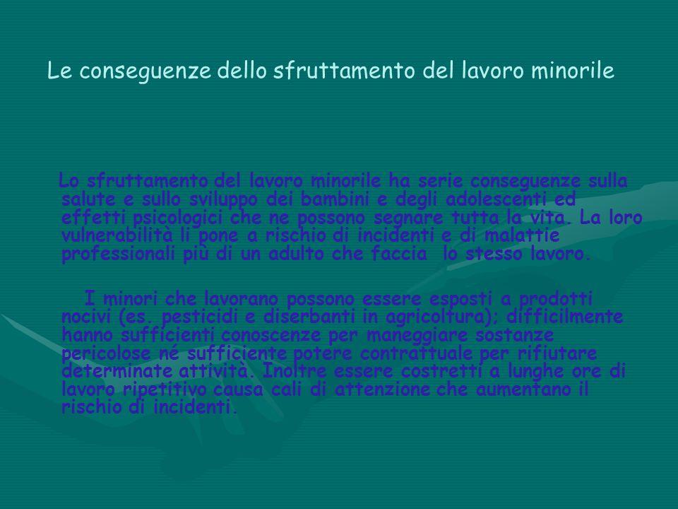 Le conseguenze dello sfruttamento del lavoro minorile Lo sfruttamento del lavoro minorile ha serie conseguenze sulla salute e sullo sviluppo dei bambi