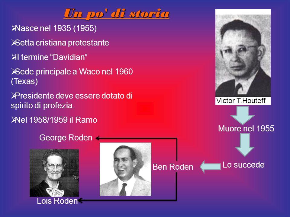 Un po' di storia Nasce nel 1935 (1955) Setta cristiana protestante Il termine Davidian Sede principale a Waco nel 1960 (Texas) Presidente deve essere