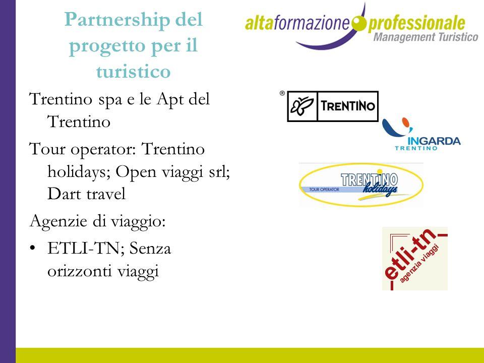 Partnership del progetto per il turistico Trentino spa e le Apt del Trentino Tour operator: Trentino holidays; Open viaggi srl; Dart travel Agenzie di
