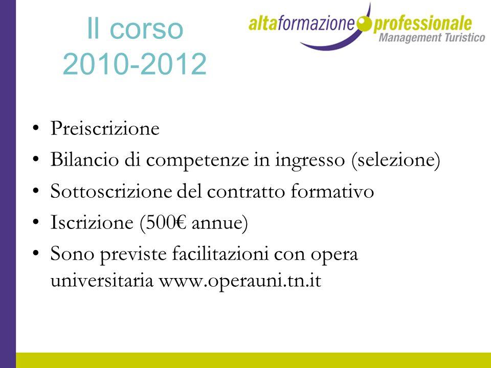 Il corso 2010-2012 Preiscrizione Bilancio di competenze in ingresso (selezione) Sottoscrizione del contratto formativo Iscrizione (500 annue) Sono pre