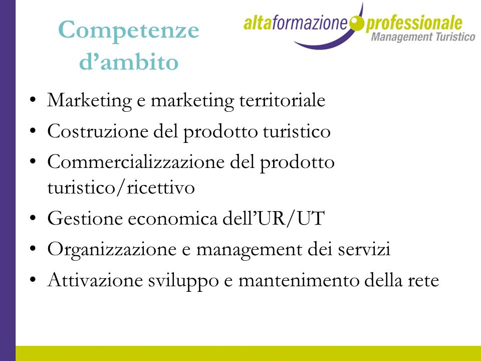Competenze dambito Marketing e marketing territoriale Costruzione del prodotto turistico Commercializzazione del prodotto turistico/ricettivo Gestione
