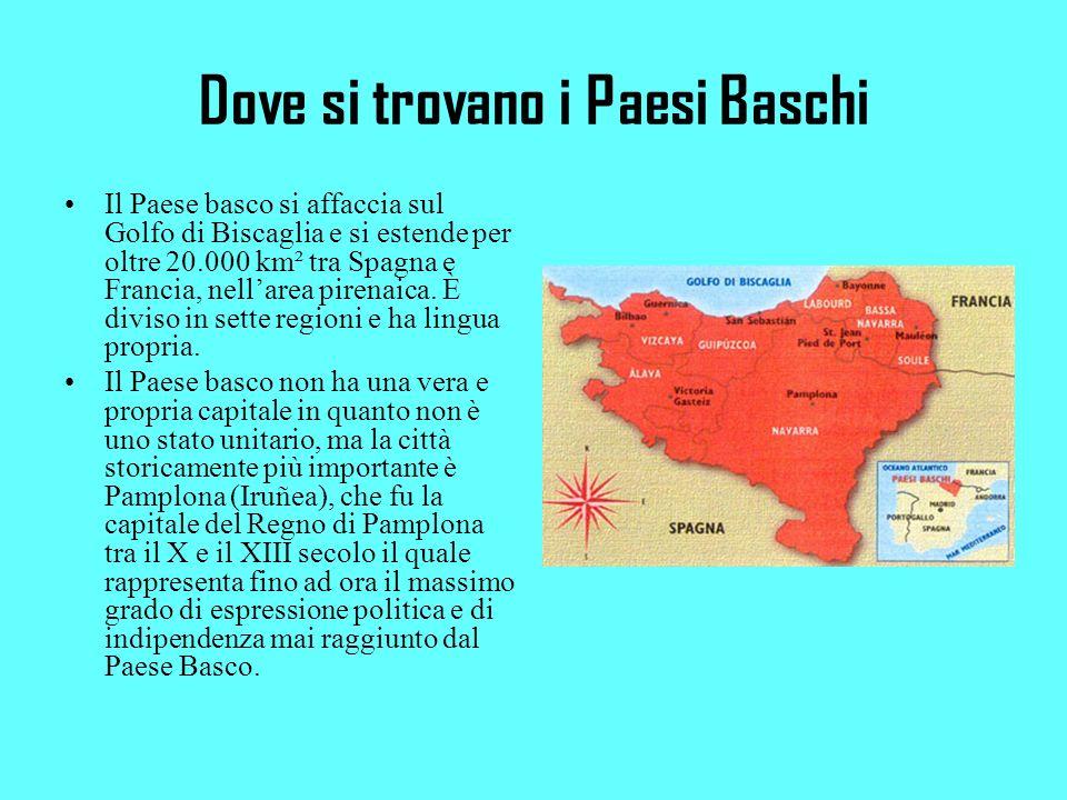 Dove si trovano i Paesi Baschi Il Paese basco si affaccia sul Golfo di Biscaglia e si estende per oltre 20.000 km² tra Spagna e Francia, nellarea pirenaica.