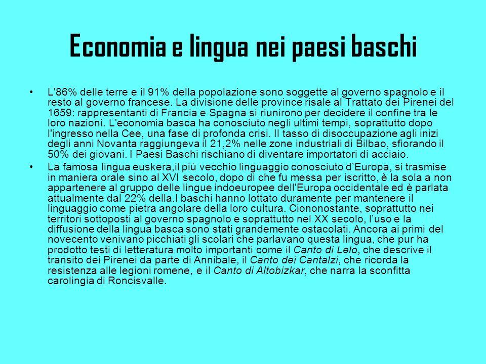 Economia e lingua nei paesi baschi L 86% delle terre e il 91% della popolazione sono soggette al governo spagnolo e il resto al governo francese.