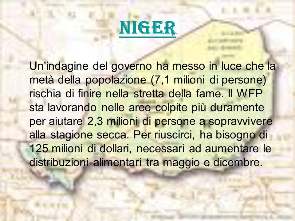 Niger Un'indagine del governo ha messo in luce che la metà della popolazione (7,1 milioni di persone) rischia di finire nella stretta della fame. Il W