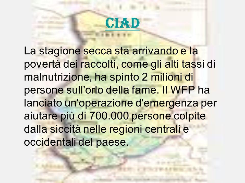 CIAD La stagione secca sta arrivando e la povertà dei raccolti, come gli alti tassi di malnutrizione, ha spinto 2 milioni di persone sull orlo della fame.