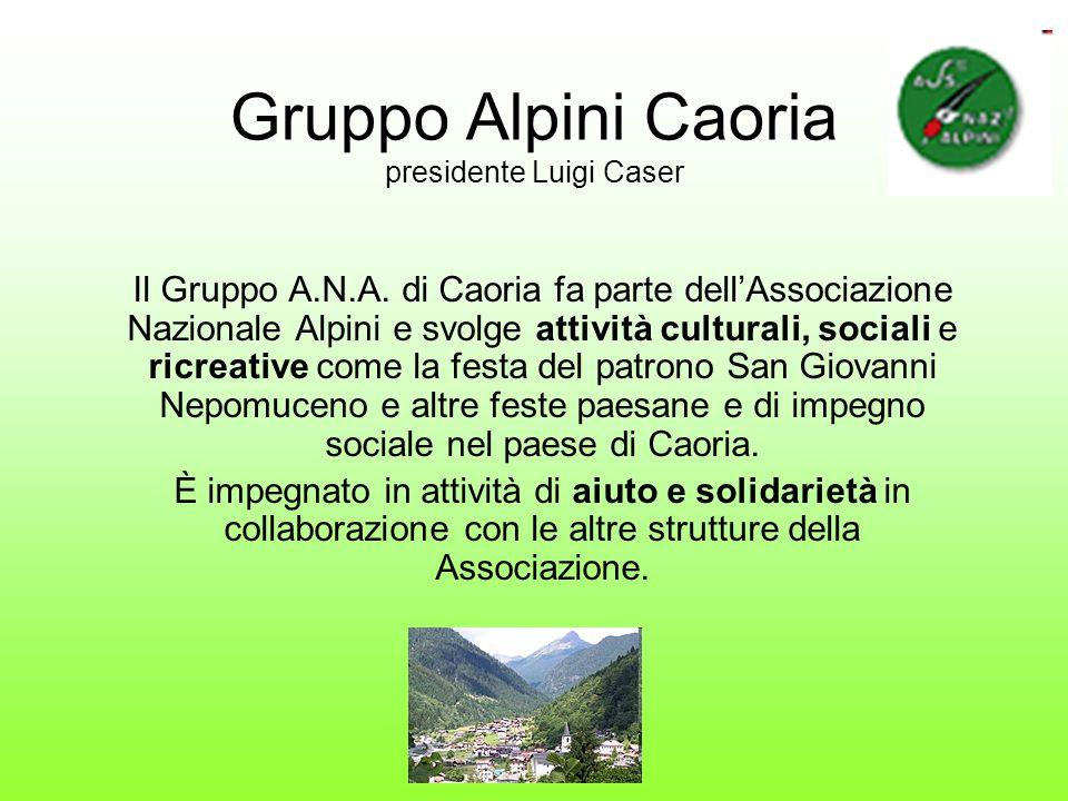 Gruppo Alpini Caoria presidente Luigi Caser Il Gruppo A.N.A. di Caoria fa parte dellAssociazione Nazionale Alpini e svolge attività culturali, sociali