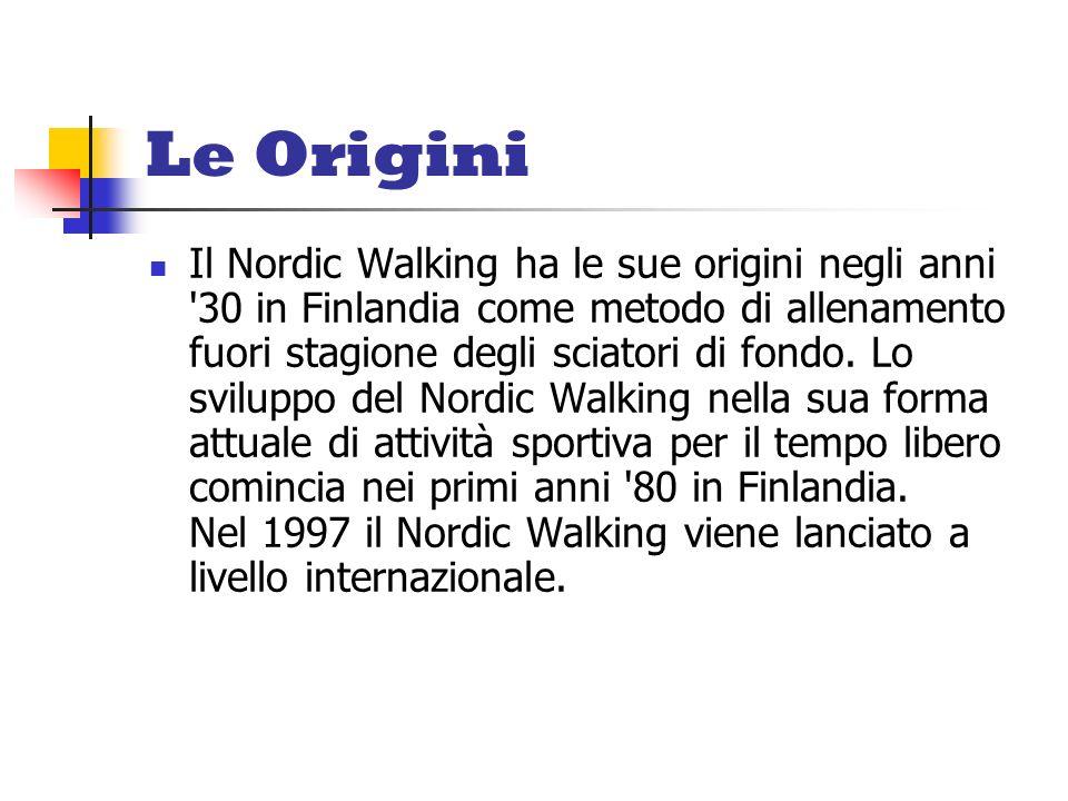 Le Origini Il Nordic Walking ha le sue origini negli anni '30 in Finlandia come metodo di allenamento fuori stagione degli sciatori di fondo. Lo svilu
