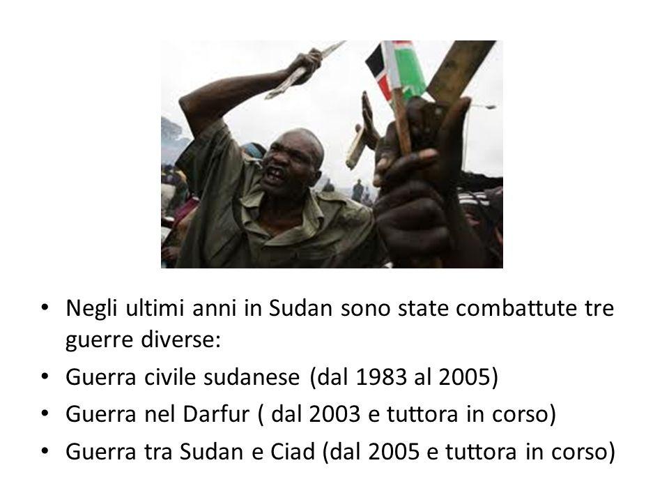 Negli ultimi anni in Sudan sono state combattute tre guerre diverse: Guerra civile sudanese (dal 1983 al 2005) Guerra nel Darfur ( dal 2003 e tuttora in corso) Guerra tra Sudan e Ciad (dal 2005 e tuttora in corso)