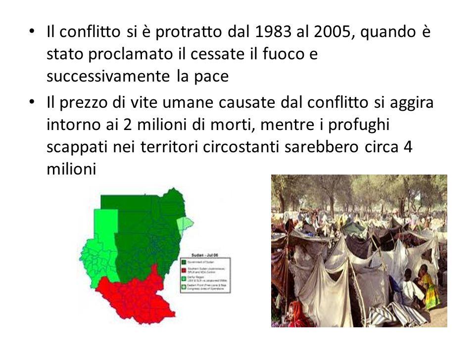 Il conflitto si è protratto dal 1983 al 2005, quando è stato proclamato il cessate il fuoco e successivamente la pace Il prezzo di vite umane causate dal conflitto si aggira intorno ai 2 milioni di morti, mentre i profughi scappati nei territori circostanti sarebbero circa 4 milioni
