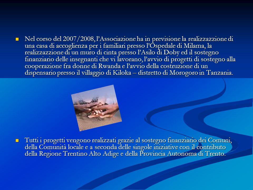 Nel corso del 2007/2008, lAssociazione ha in previsione la realizzazzione di una casa di accoglienza per i familiari presso lOspedale di Milama, la re