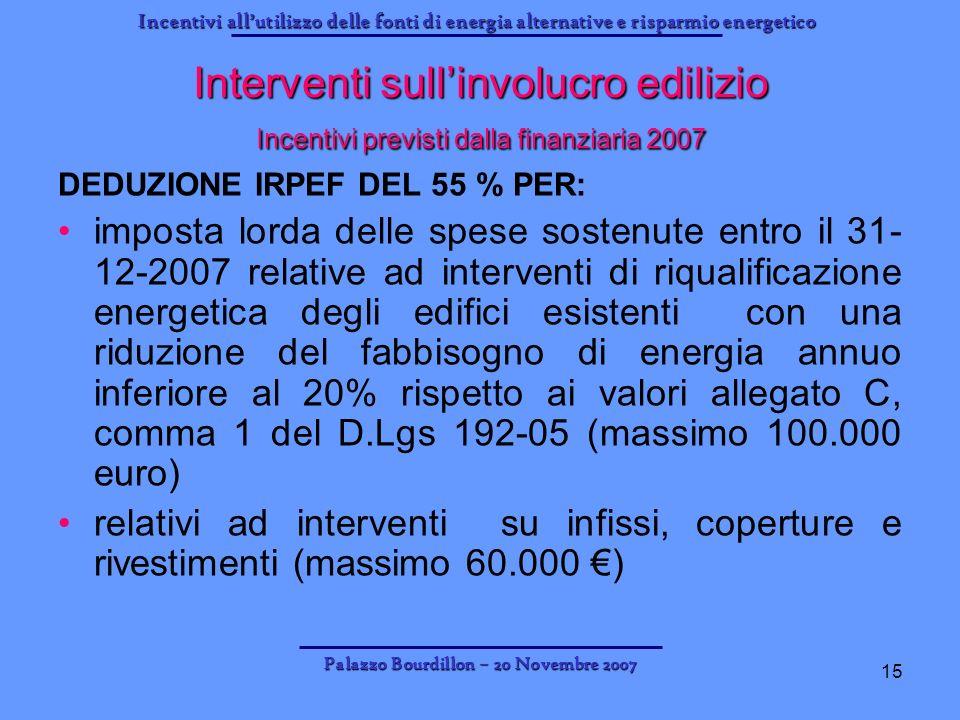 Incentivi allutilizzo delle fonti di energia alternative e risparmio energetico Palazzo Bourdillon – 20 Novembre 2007 15 Interventi sullinvolucro edil