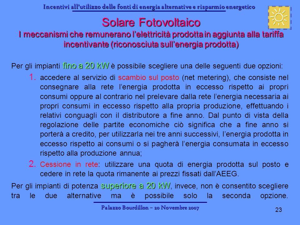 Incentivi allutilizzo delle fonti di energia alternative e risparmio energetico Palazzo Bourdillon – 20 Novembre 2007 23 fino a 20 kW Per gli impianti
