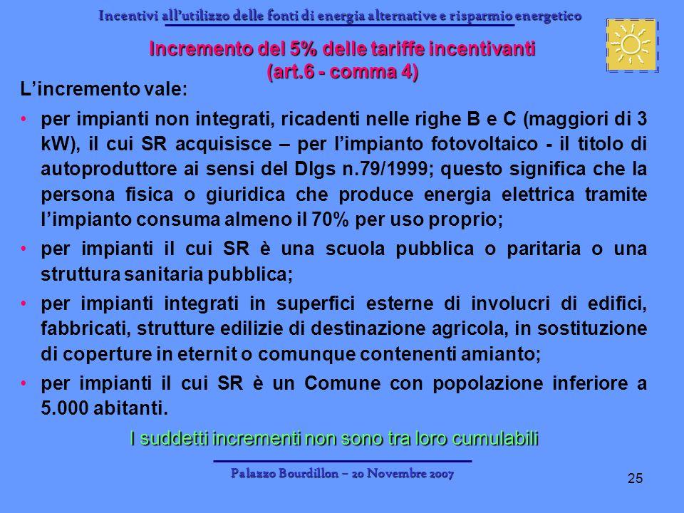 Incentivi allutilizzo delle fonti di energia alternative e risparmio energetico Palazzo Bourdillon – 20 Novembre 2007 25 Incremento del 5% delle tarif