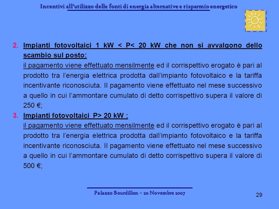 Incentivi allutilizzo delle fonti di energia alternative e risparmio energetico Palazzo Bourdillon – 20 Novembre 2007 29 2.Impianti fotovoltaici 1 kW