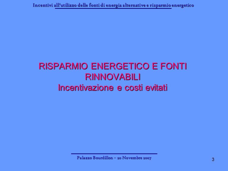 Incentivi allutilizzo delle fonti di energia alternative e risparmio energetico Palazzo Bourdillon – 20 Novembre 2007 3 RISPARMIO ENERGETICO E FONTI R