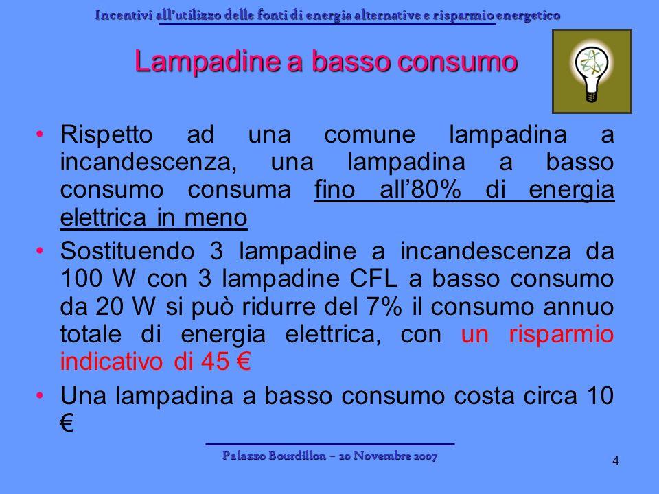 Incentivi allutilizzo delle fonti di energia alternative e risparmio energetico Palazzo Bourdillon – 20 Novembre 2007 4 Lampadine a basso consumo Risp