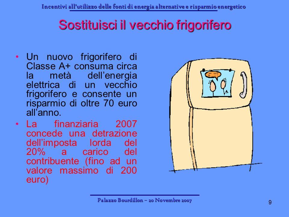Incentivi allutilizzo delle fonti di energia alternative e risparmio energetico Palazzo Bourdillon – 20 Novembre 2007 9 Sostituisci il vecchio frigori