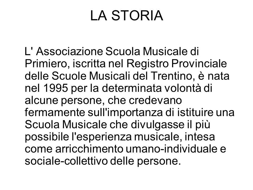LA STORIA L' Associazione Scuola Musicale di Primiero, iscritta nel Registro Provinciale delle Scuole Musicali del Trentino, è nata nel 1995 per la de