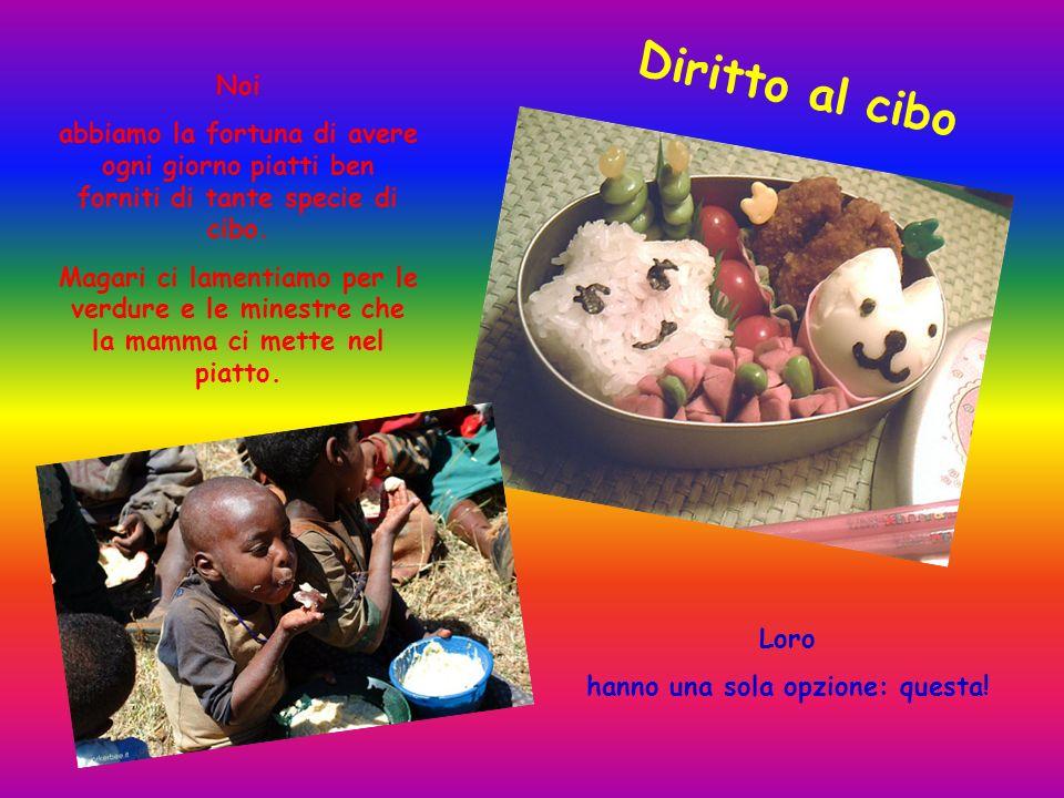 Diritto al cibo Noi abbiamo la fortuna di avere ogni giorno piatti ben forniti di tante specie di cibo. Magari ci lamentiamo per le verdure e le mines