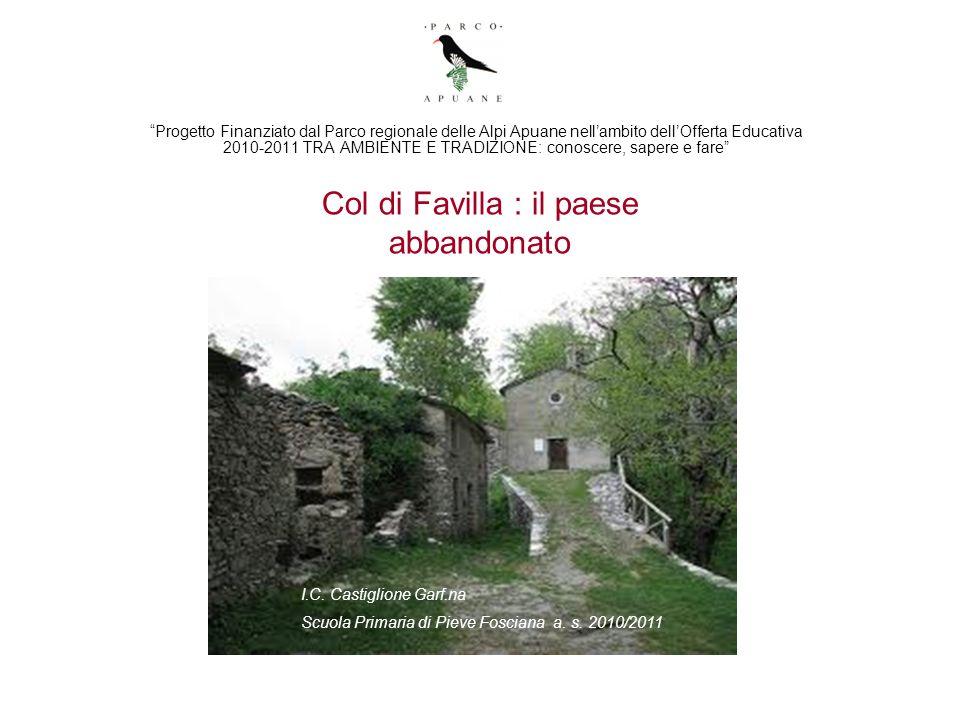Col di Favilla : il paese abbandonato Progetto Finanziato dal Parco regionale delle Alpi Apuane nellambito dellOfferta Educativa 2010-2011 TRA AMBIENT