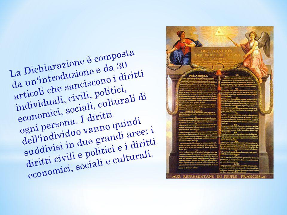 La Dichiarazione è composta da un'introduzione e da 30 articoli che sanciscono i diritti individuali, civili, politici, economici, sociali, culturali