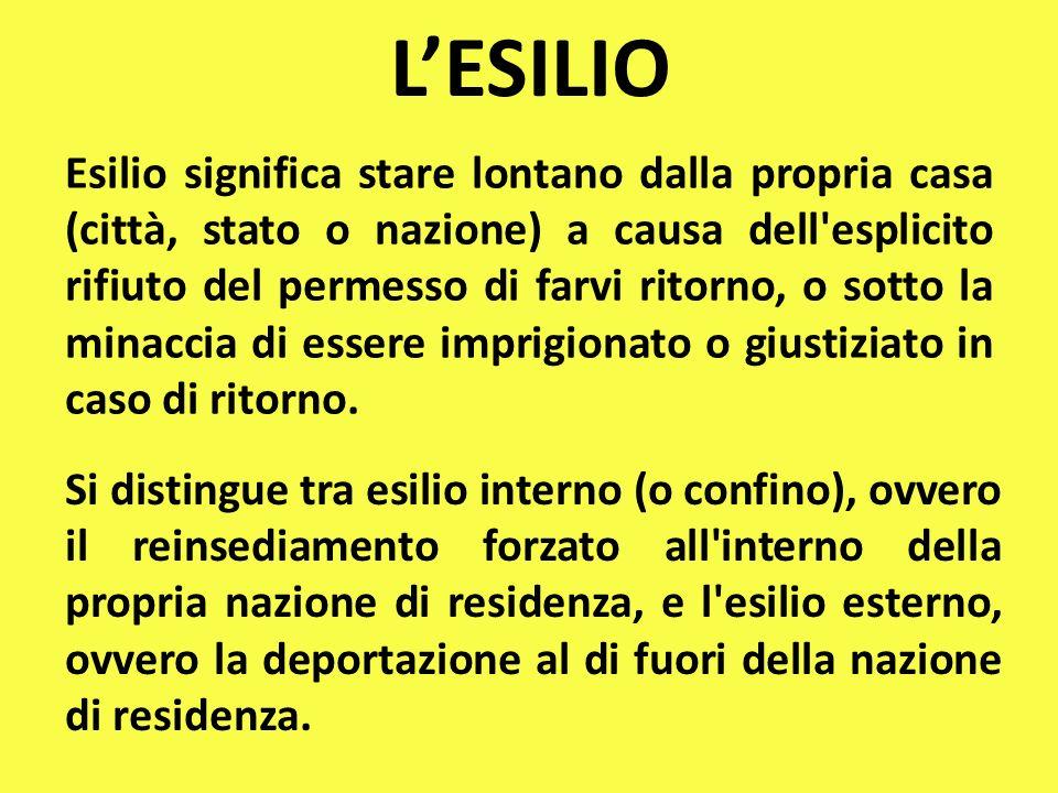 LESILIO Esilio significa stare lontano dalla propria casa (città, stato o nazione) a causa dell esplicito rifiuto del permesso di farvi ritorno, o sotto la minaccia di essere imprigionato o giustiziato in caso di ritorno.
