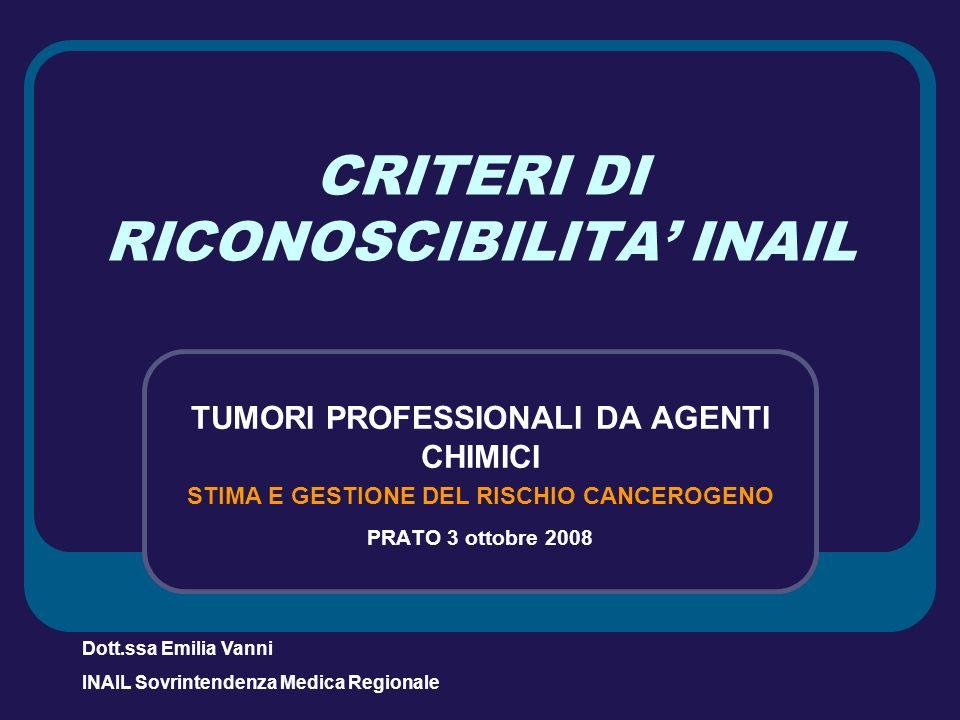 CRITERI DI RICONOSCIBILITA INAIL TUMORI PROFESSIONALI DA AGENTI CHIMICI STIMA E GESTIONE DEL RISCHIO CANCEROGENO PRATO 3 ottobre 2008 Dott.ssa Emilia