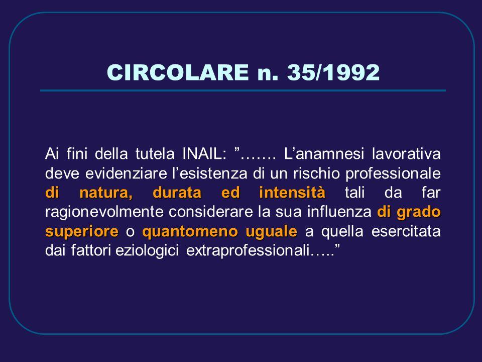 CIRCOLARE n. 35/1992 di natura, durata ed intensità di grado superiorequantomeno uguale Ai fini della tutela INAIL: ……. Lanamnesi lavorativa deve evid
