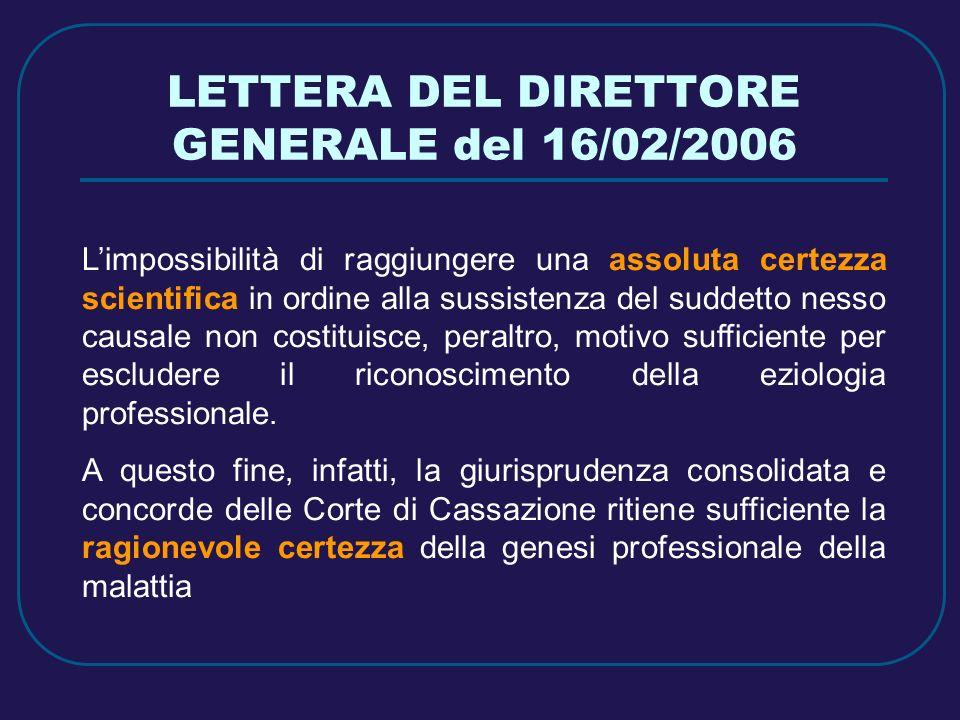 LETTERA DEL DIRETTORE GENERALE del 16/02/2006 Limpossibilità di raggiungere una assoluta certezza scientifica in ordine alla sussistenza del suddetto