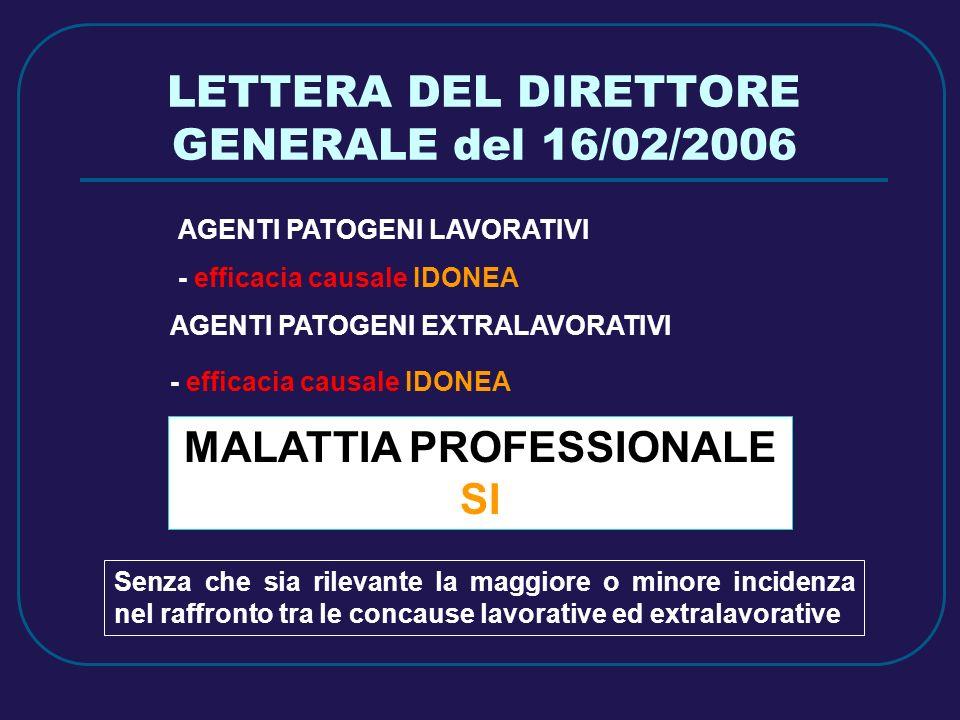 LETTERA DEL DIRETTORE GENERALE del 16/02/2006 AGENTI PATOGENI LAVORATIVI - efficacia causale IDONEA AGENTI PATOGENI EXTRALAVORATIVI - efficacia causal