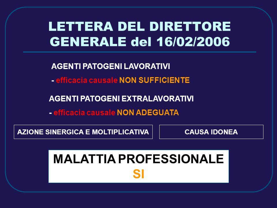 LETTERA DEL DIRETTORE GENERALE del 16/02/2006 AGENTI PATOGENI LAVORATIVI - efficacia causale NON SUFFICIENTE AGENTI PATOGENI EXTRALAVORATIVI - efficac