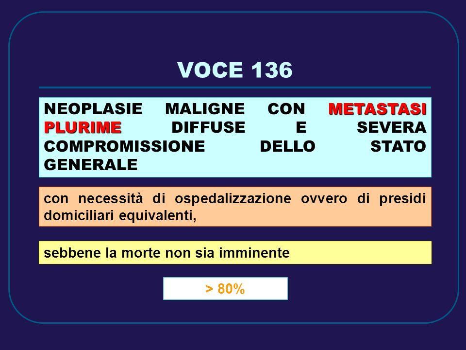VOCE 136 > 80% METASTASI PLURIME NEOPLASIE MALIGNE CON METASTASI PLURIME DIFFUSE E SEVERA COMPROMISSIONE DELLO STATO GENERALE con necessità di ospedal