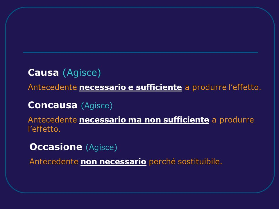 Causa (Agisce) Antecedente necessario e sufficiente a produrre leffetto.