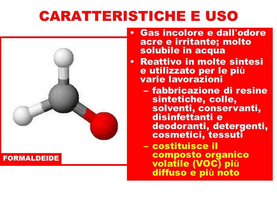 FORMALDEIDE Gas incolore e dall odore acre e irritante; molto solubile in acqua Reattivo in molte sintesi e utilizzato per le pi ù varie lavorazioni –fabbricazione di resine sintetiche, colle, solventi, conservanti, disinfettanti e deodoranti, detergenti, cosmetici, tessuti –costituisce il composto organico volatile (VOC) pi ù diffuso e pi ù noto CARATTERISTICHE E USO