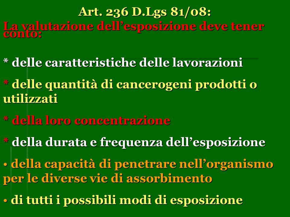 Art. 236 D.Lgs 81/08: La valutazione dellesposizione deve tener conto: * delle caratteristiche delle lavorazioni * delle quantità di cancerogeni prodo