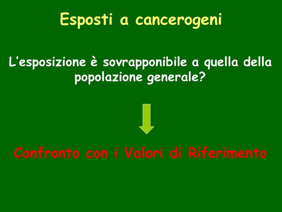 Esposti a cancerogeni Lesposizione è sovrapponibile a quella della popolazione generale.