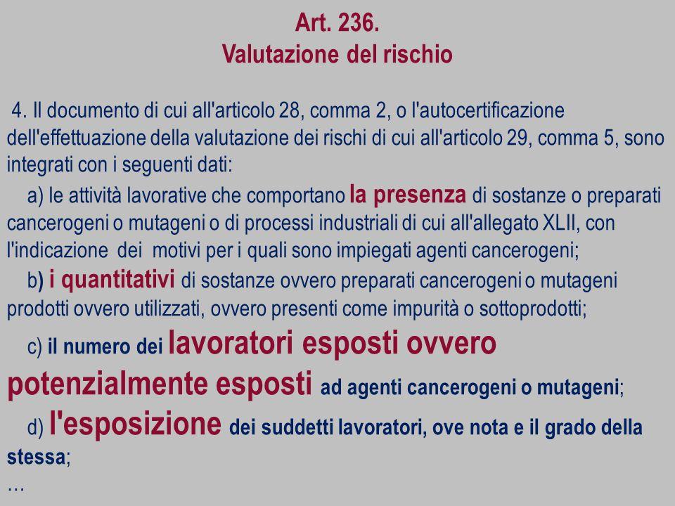 Art. 236. Valutazione del rischio 4. Il documento di cui all'articolo 28, comma 2, o l'autocertificazione dell'effettuazione della valutazione dei ris