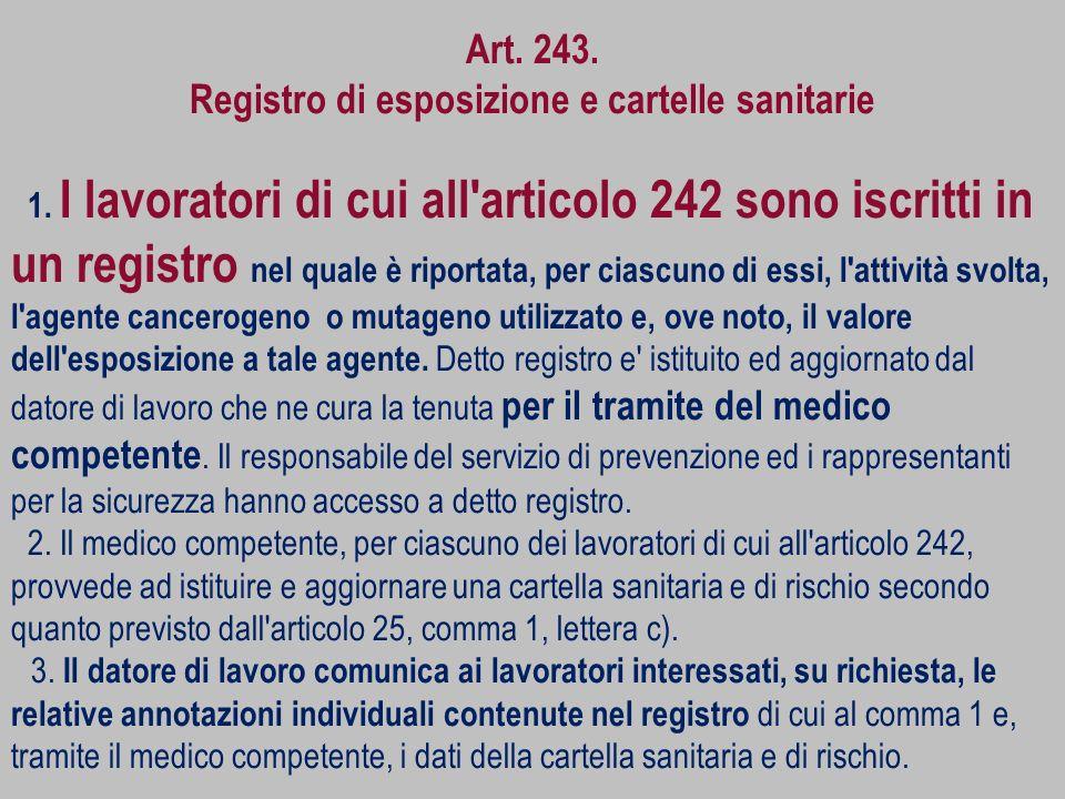 Art. 243. Registro di esposizione e cartelle sanitarie 1. I lavoratori di cui all'articolo 242 sono iscritti in un registro nel quale è riportata, per