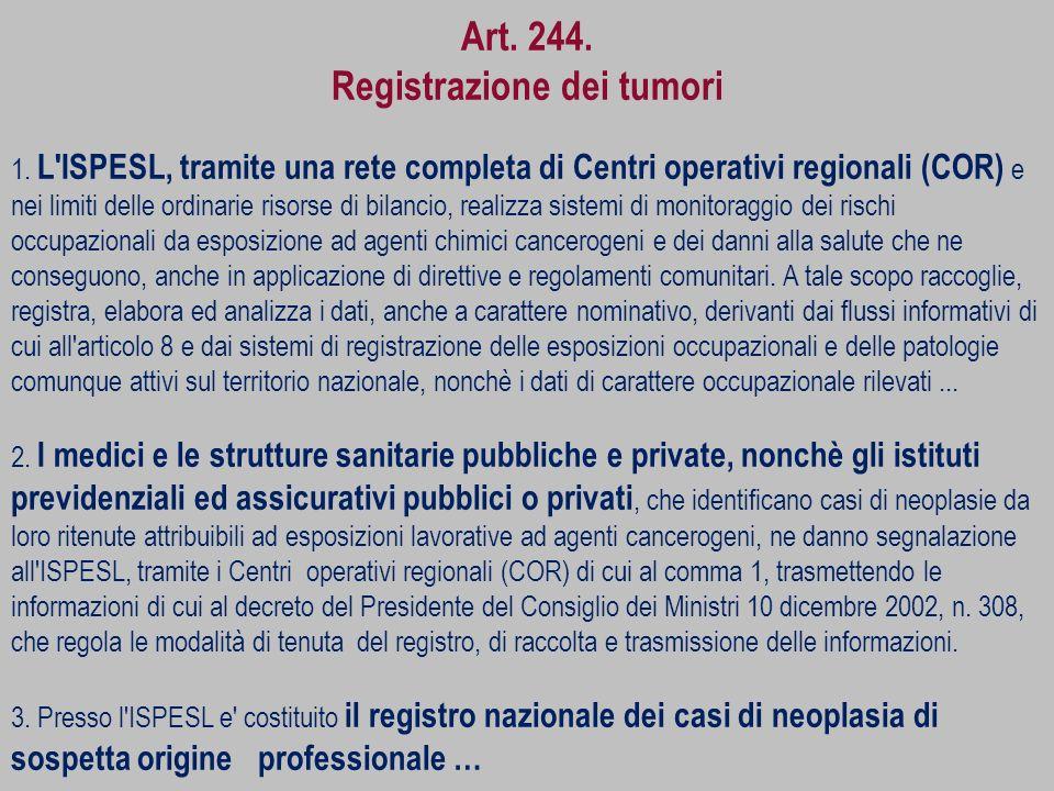 Art. 244. Registrazione dei tumori 1. L'ISPESL, tramite una rete completa di Centri operativi regionali (COR) e nei limiti delle ordinarie risorse di