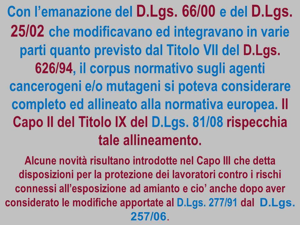 Con lemanazione del D.Lgs. 66/00 e del D.Lgs. 25/02 che modificavano ed integravano in varie parti quanto previsto dal Titolo VII del D.Lgs. 626/94, i