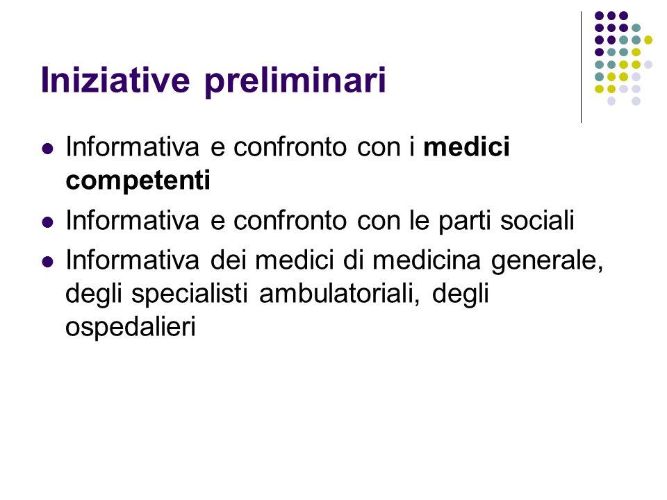 Iniziative preliminari Informativa e confronto con i medici competenti Informativa e confronto con le parti sociali Informativa dei medici di medicina generale, degli specialisti ambulatoriali, degli ospedalieri