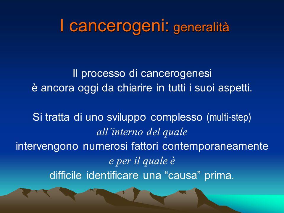 I cancerogeni: generalità Occorre distinguere i cancerogeni propriamente detti (mutageni / genotossici) da quei composti che agiscono con meccanismo epigenetico (promotori).