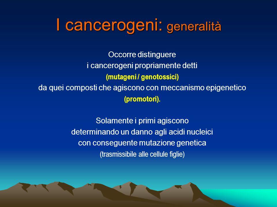 I cancerogeni: generalità Leffetto cancerogeno è del tipo tutto o niente [stocastico] non esiste dunque la possibilità di determinare una curva dose-effetto.