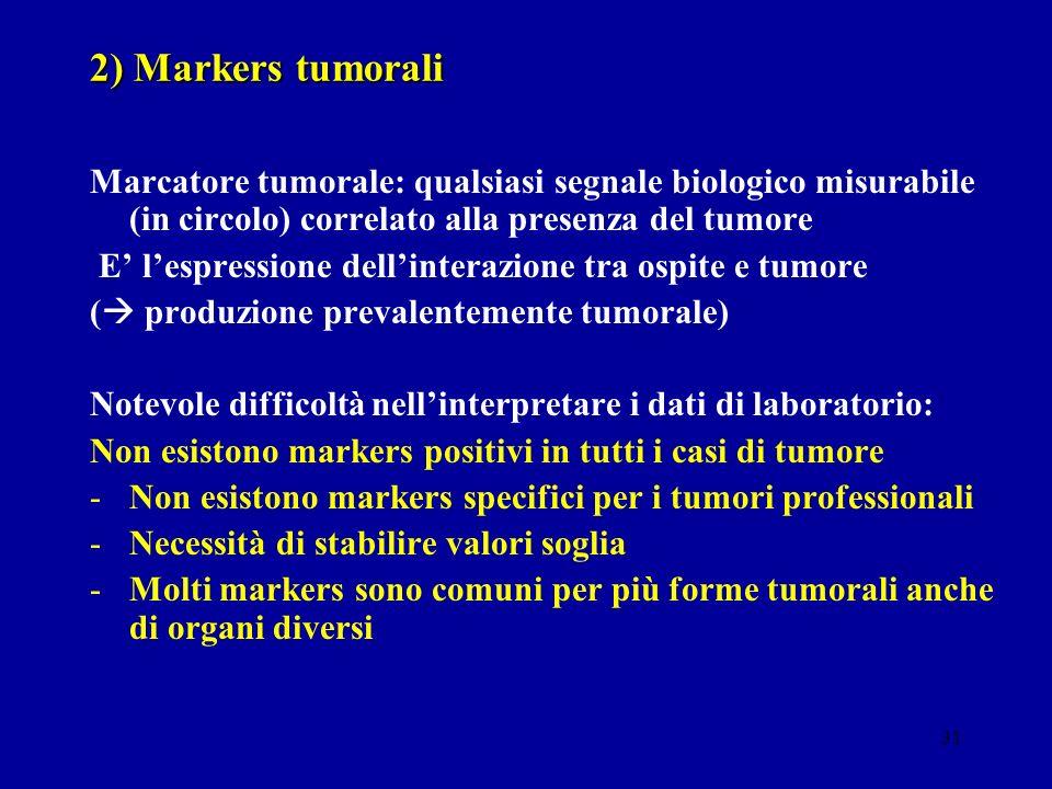 31 2) Markers tumorali Marcatore tumorale: qualsiasi segnale biologico misurabile (in circolo) correlato alla presenza del tumore E lespressione delli