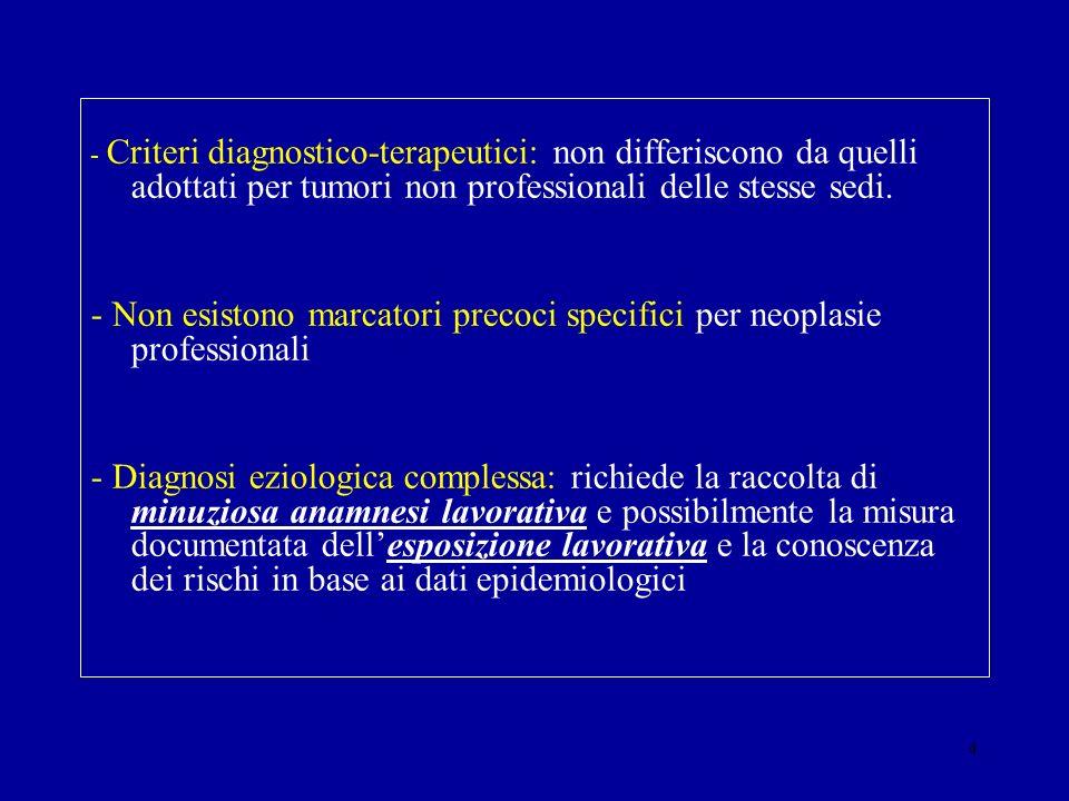 4 - Criteri diagnostico-terapeutici: non differiscono da quelli adottati per tumori non professionali delle stesse sedi. - Non esistono marcatori prec