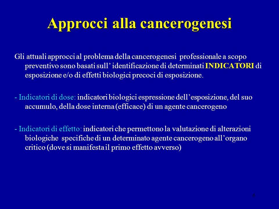 6 Approcci alla cancerogenesi Gli attuali approcci al problema della cancerogenesi professionale a scopo preventivo sono basati sull identificazione d