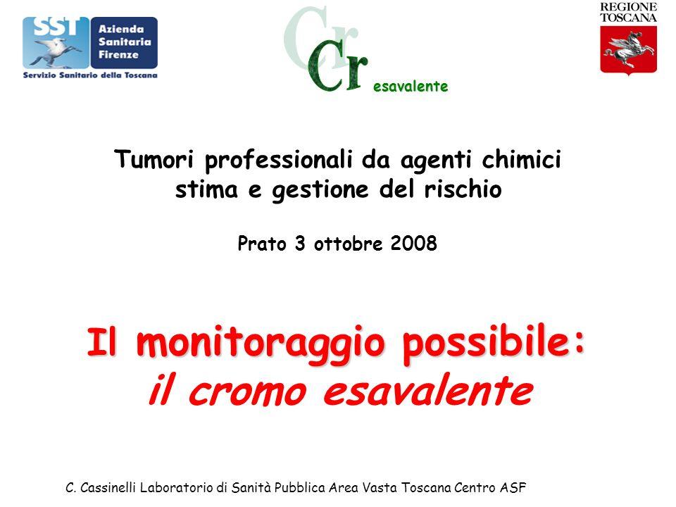 esavalente C. Cassinelli Laboratorio di Sanità Pubblica Area Vasta Toscana Centro ASF Tumori professionali da agenti chimici stima e gestione del risc
