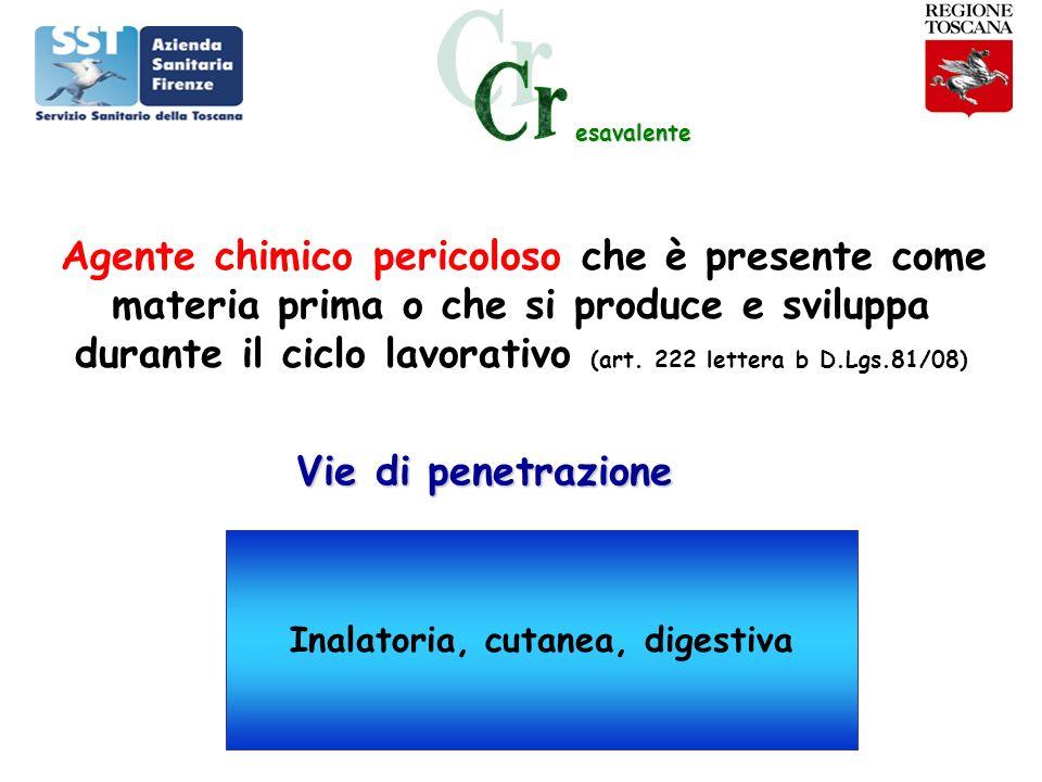esavalente Agente chimico pericoloso che è presente come materia prima o che si produce e sviluppa durante il ciclo lavorativo (art. 222 lettera b D.L