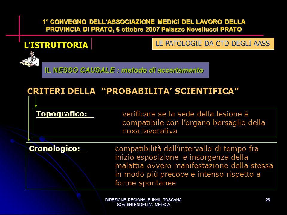 DIREZIONE REGIONALE INAIL TOSCANA SOVRINTENDENZA MEDICA 26 LE PATOLOGIE DA CTD DEGLI AASS 1° CONVEGNO DELLASSOCIAZIONE MEDICI DEL LAVORO DELLA PROVINCIA DI PRATO, 6 ottobre 2007 Palazzo Novellucci PRATO CRITERI DELLA PROBABILITA SCIENTIFICA Topografico:Topografico:verificare se la sede della lesione è compatibile con lorgano bersaglio della noxa lavorativa Cronologico:Cronologico:compatibilità dellintervallo di tempo fra inizio esposizione e insorgenza della malattia ovvero manifestazione della stessa in modo più precoce e intenso rispetto a forme spontanee IL NESSO CAUSALE : metodo di accertamento LISTRUTTORIA