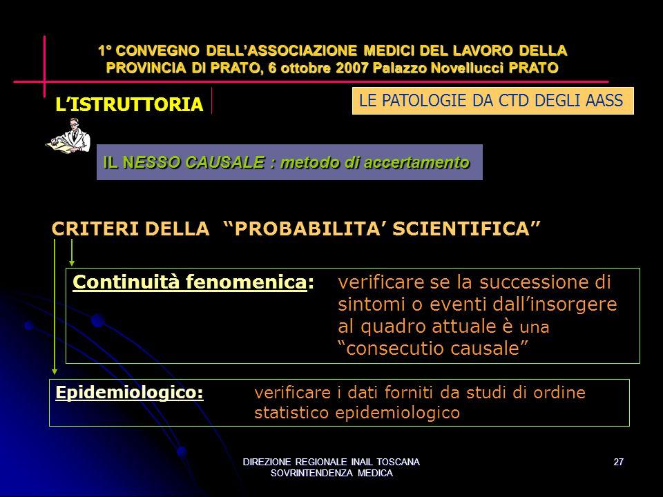 DIREZIONE REGIONALE INAIL TOSCANA SOVRINTENDENZA MEDICA 27 LE PATOLOGIE DA CTD DEGLI AASS 1° CONVEGNO DELLASSOCIAZIONE MEDICI DEL LAVORO DELLA PROVINCIA DI PRATO, 6 ottobre 2007 Palazzo Novellucci PRATO CRITERI DELLA PROBABILITA SCIENTIFICA Continuità fenomenica:verificare se la successione di sintomi o eventi dallinsorgere al quadro attuale è una consecutio causale Epidemiologico:Epidemiologico:verificare i dati forniti da studi di ordine statistico epidemiologico IL NESSO CAUSALE : metodo di accertamento LISTRUTTORIA